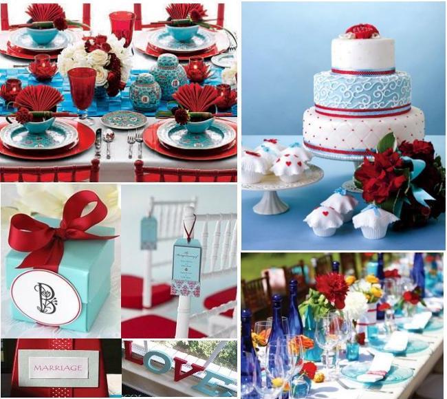 8cdde6222cbe weddingstylist red and blue wedding decoration Βαθύ κόκκινο και γαλάζιο