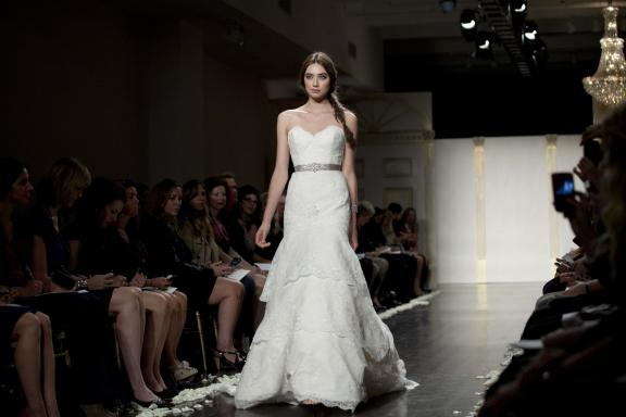 wedding dress lazaro fall 2012 bridal gowns lace drop waist sash Άνοιξη 2012  Νυφικά από την Tara Keely