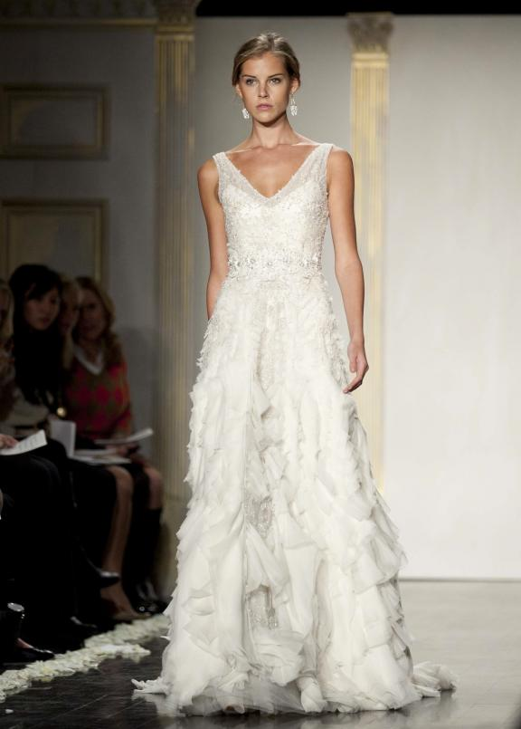wedding dress lazaro fall 2012 bridal gowns modified a line vintage inspired Άνοιξη 2012  Νυφικά από την Tara Keely