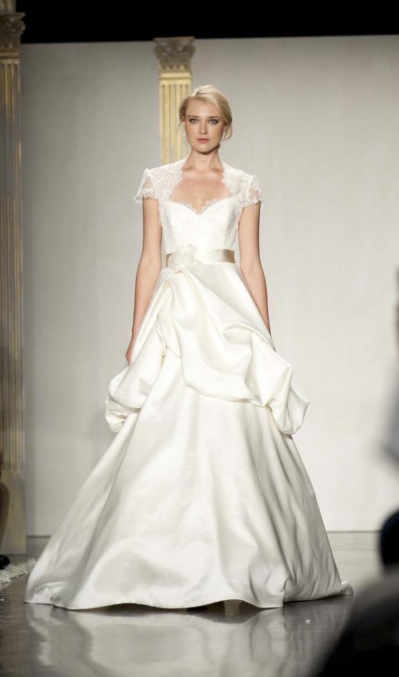wedding dress lazaro fall 2012 bridal gowns peplum cap sleeved bolero Άνοιξη 2012  Νυφικά από την Tara Keely