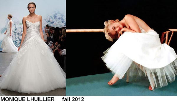 weddingstylist monroe Έπνευση Marilyn Monroe από τον MONIQUE LHULLIER/ Fall 2012