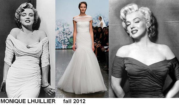 weddingstylist monroe4 Έπνευση Marilyn Monroe από τον MONIQUE LHULLIER/ Fall 2012