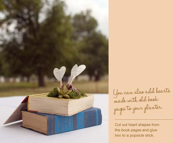 weddingstylist bookplanter diy Βιβλία που ανθίζουν στον γάμο σας!