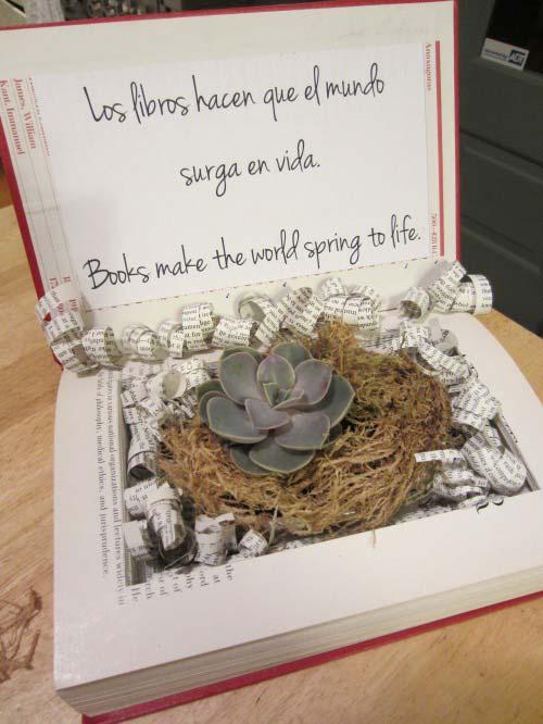 weddingstylist diy booksplanter decoration Βιβλία που ανθίζουν στον γάμο σας!