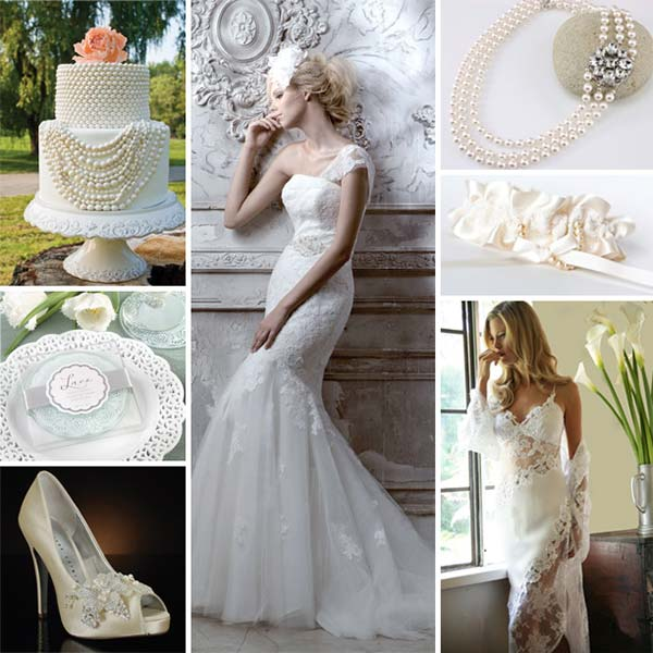 wedddingstylist pearls lace inspiration Δαντέλα και πέρλα παντού!
