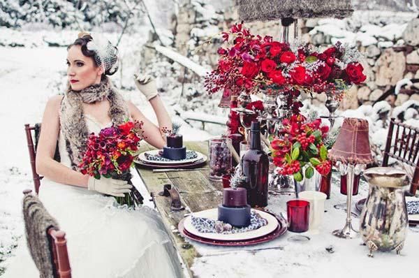 weddingstylist winter trapezi Μια χειμωνιάτικη νύφη στη Χώρα των Θαυμάτων